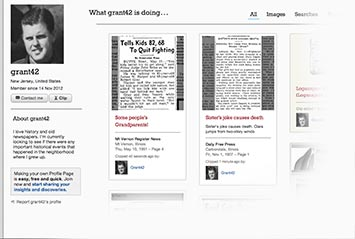 Profile page on Daily Press & Argus Archive